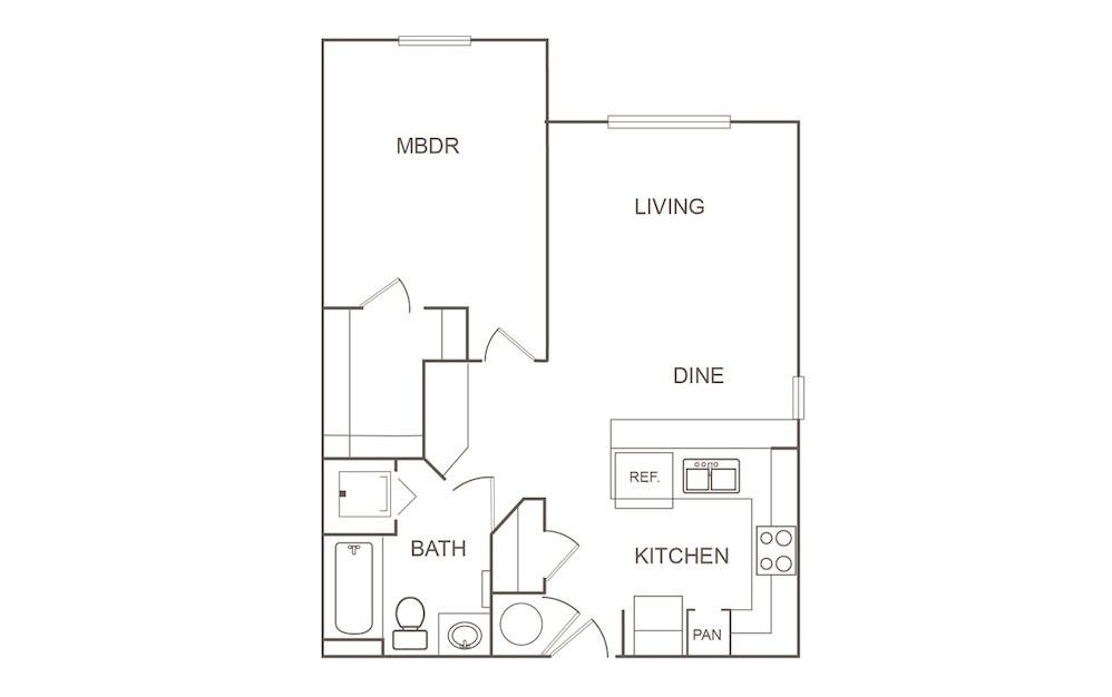 A2 - 1 bedroom floorplan layout with 1 bath and 689 square feet (1st floor 2D)