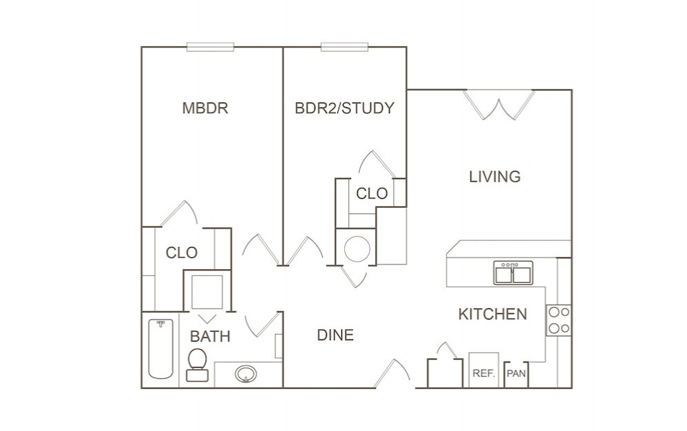 B1 - 2 bedroom floorplan layout with 1 bath and 869 square feet (1st floor 2D)
