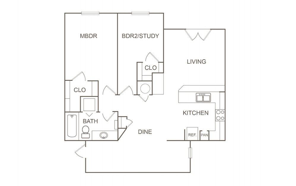 B2 - 2 bedroom floorplan layout with 1 bath and 1039 square feet (1st floor 2D)